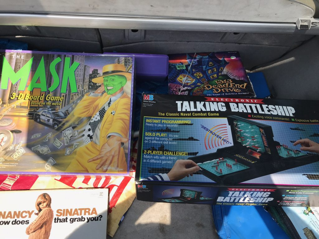 Bill's trunk has The Mask, 1313 Dead End Drive, Talking Battleship and a Nancy Sinatra record