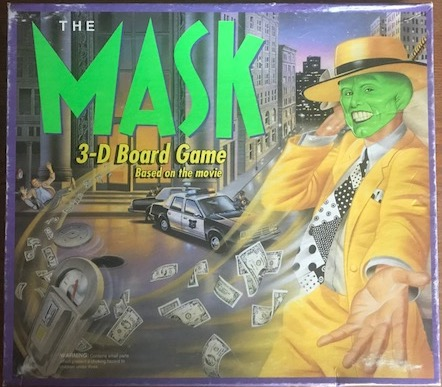 The board game cover showing picture of Jim Carrey as The Mask