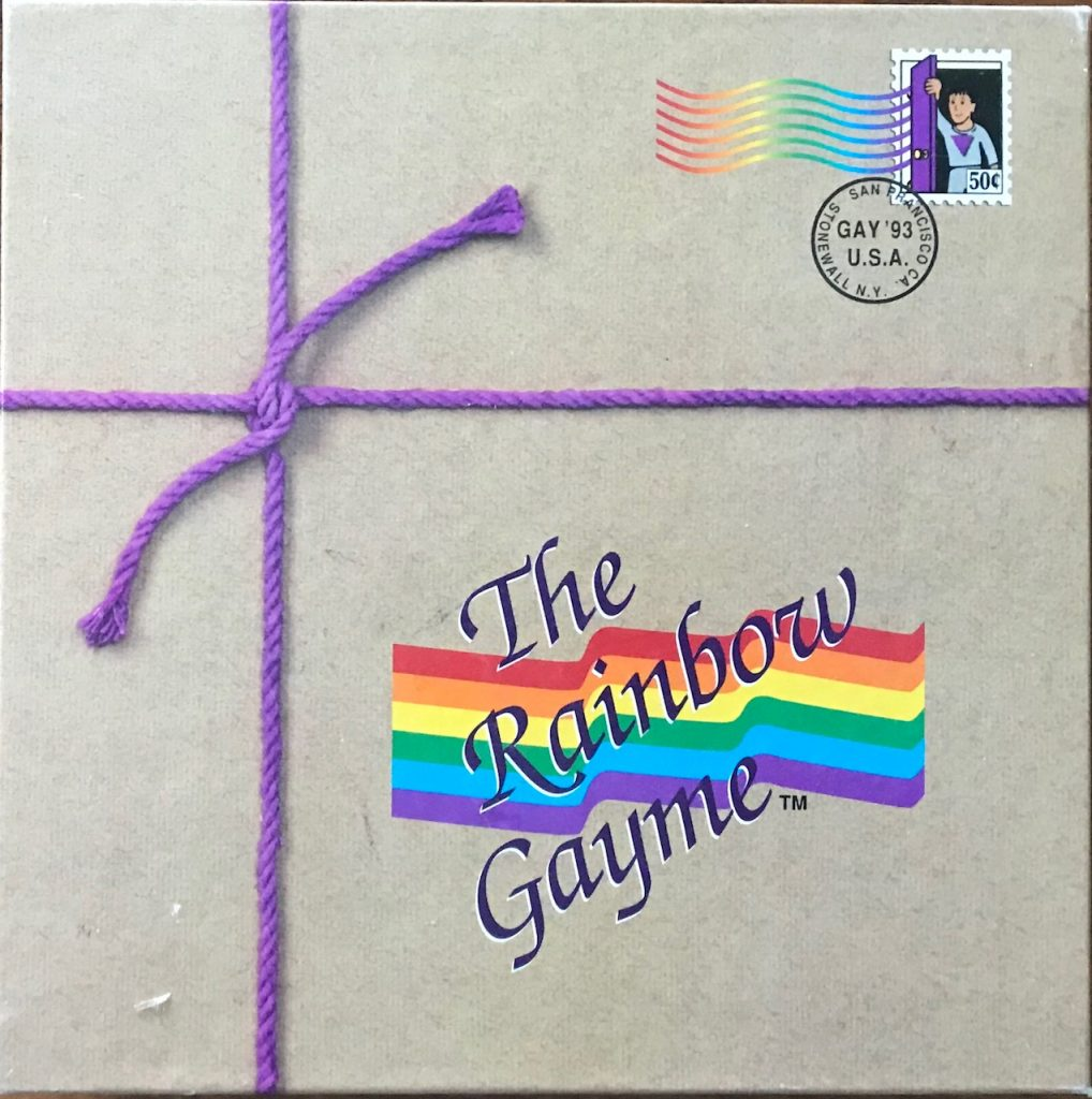 Cover looks like a package with purple yarn and the title The Rainbow Gayme