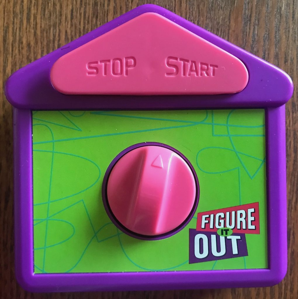 The timer is purple and green with pink details
