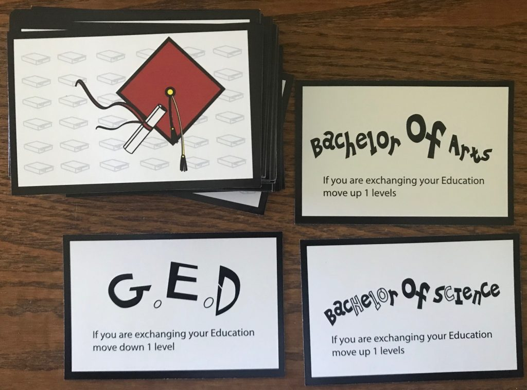 Random education cards show Bachelor of Arts, Bachelor of Science, or GED