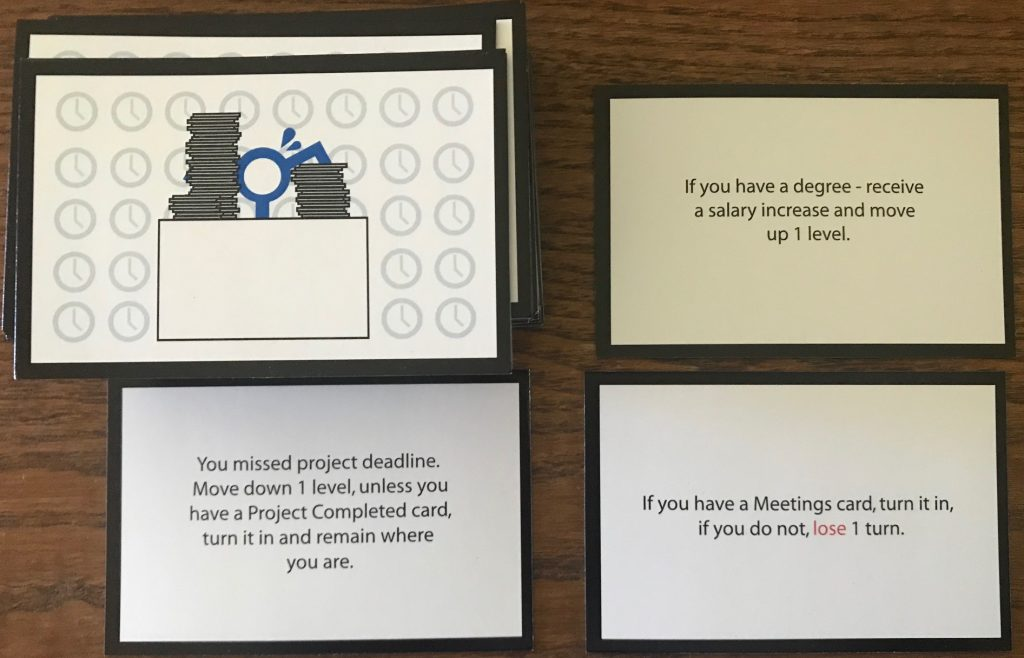 Random hard work cards including moving up a level if you have a degree