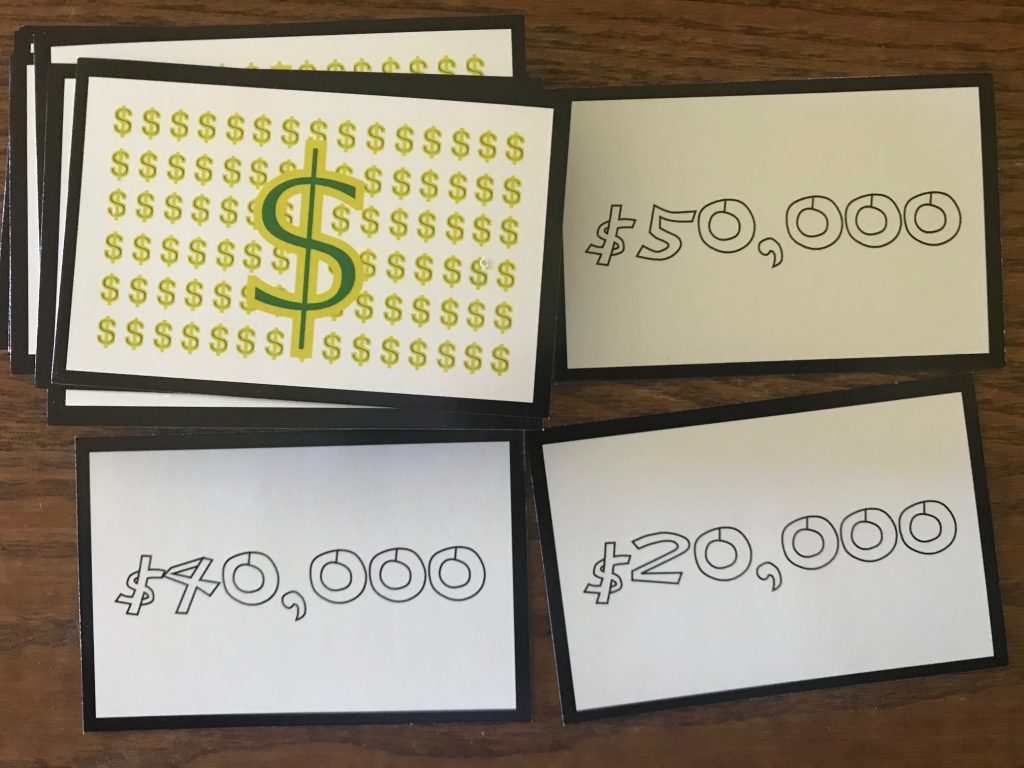Salary card examples showing 20, 40, and 50 thousand