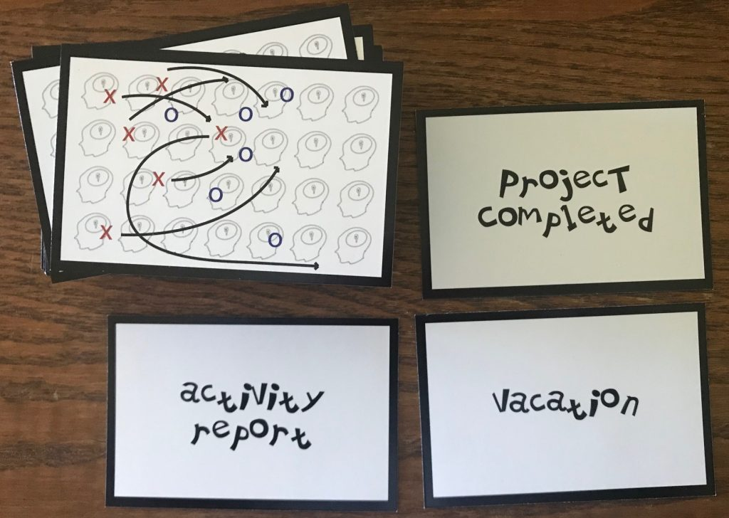 Random strategy cards show Project Completed, Activity Reports, and Vacation