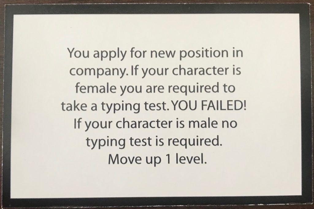 This card says as a female you need to take a typing test
