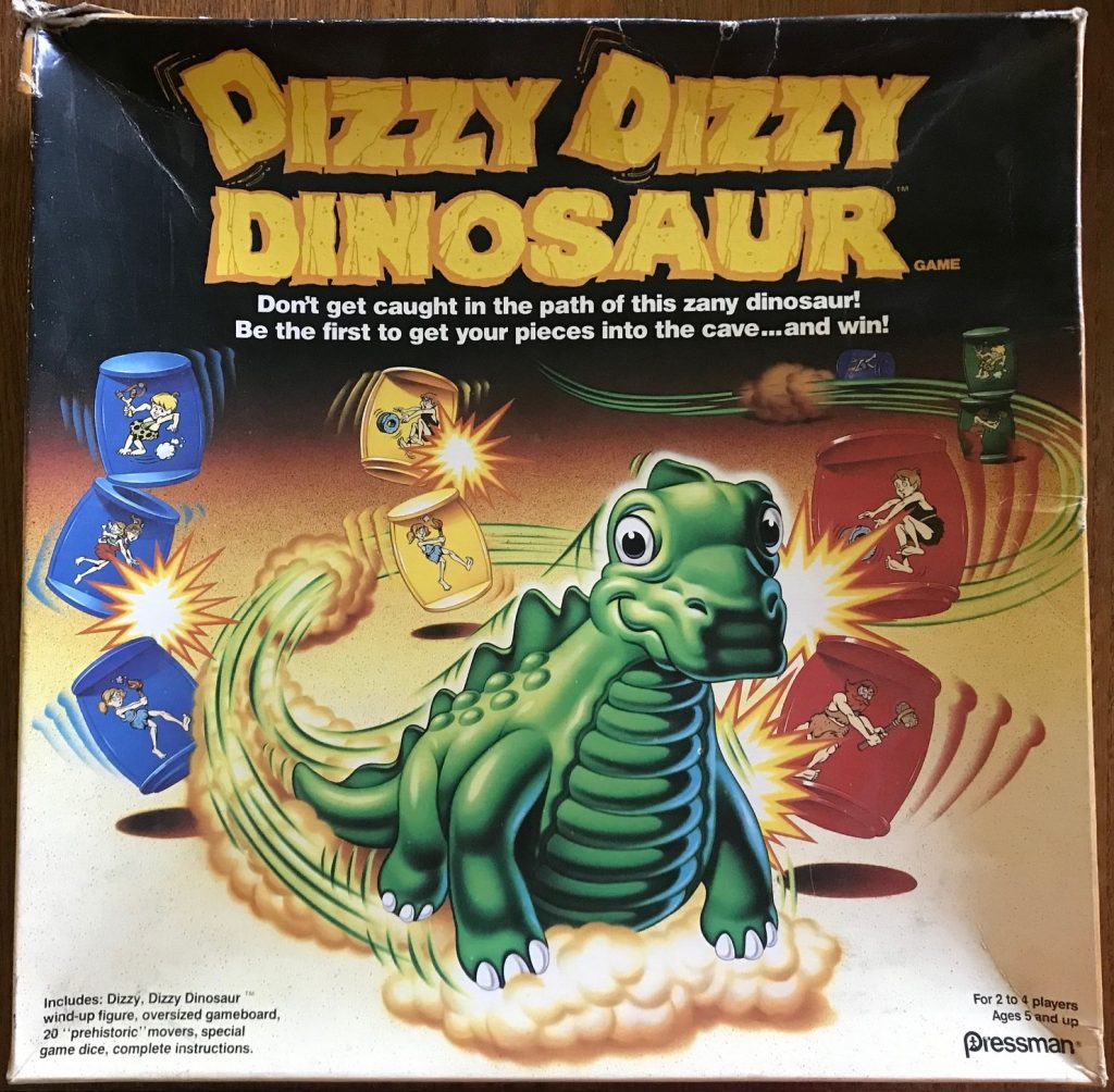 A happy dinosaur that is knocking over pawns with its tail