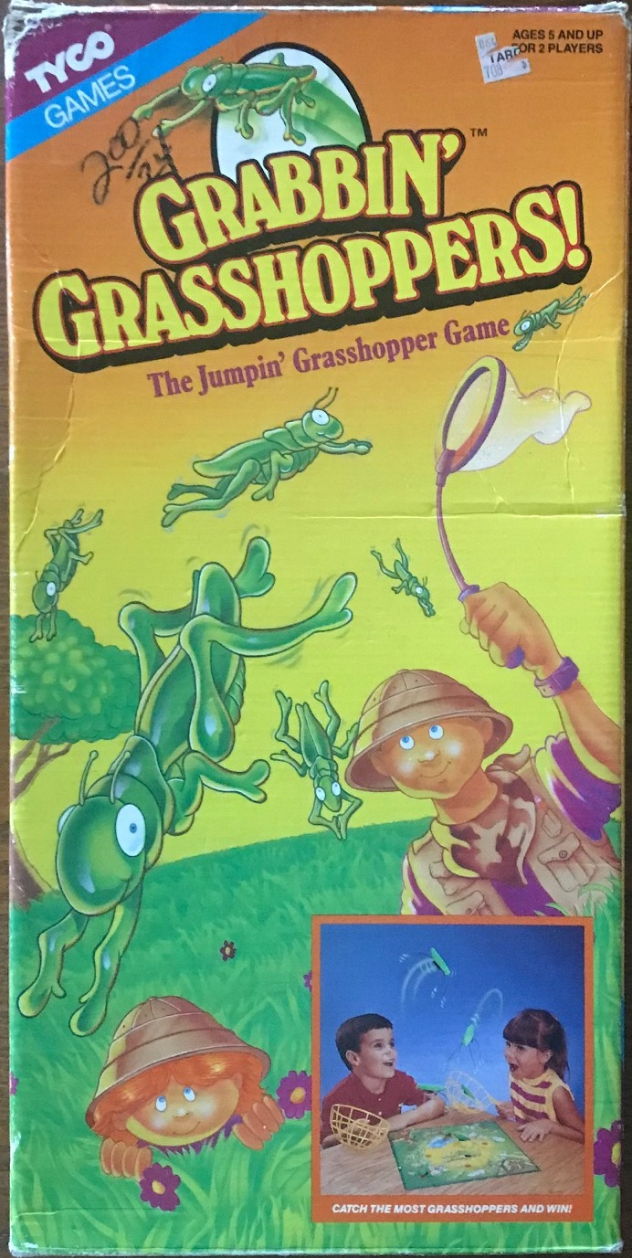 This is a tall cover showing a cartoon man with a net trying to catch cartoon grasshoppers