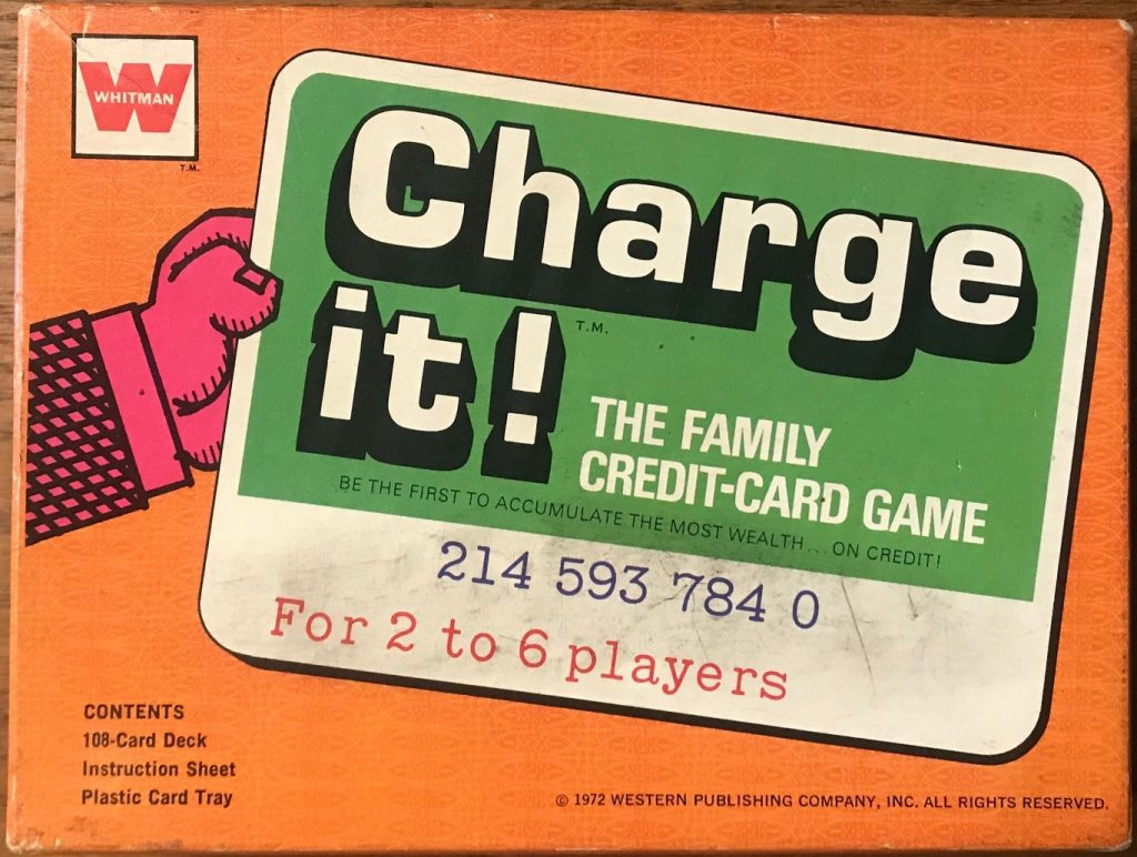 This cover is very 70's with an orange background and a pink arm holding out a green credit card