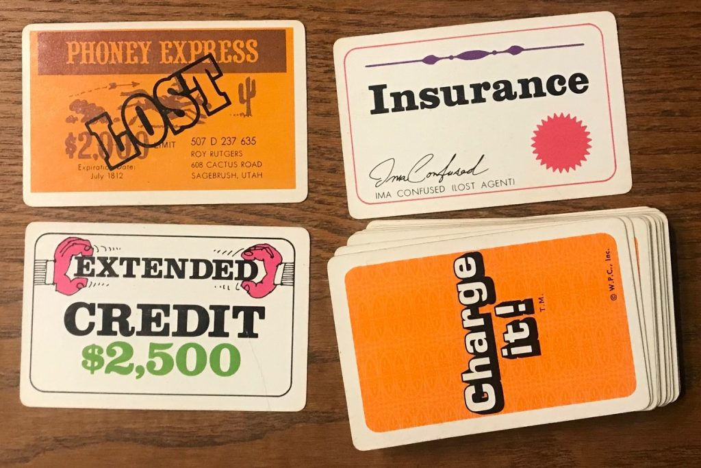 Some of the random cards like LOST card, INSURANCE card, and EXTENDED CREDIT card