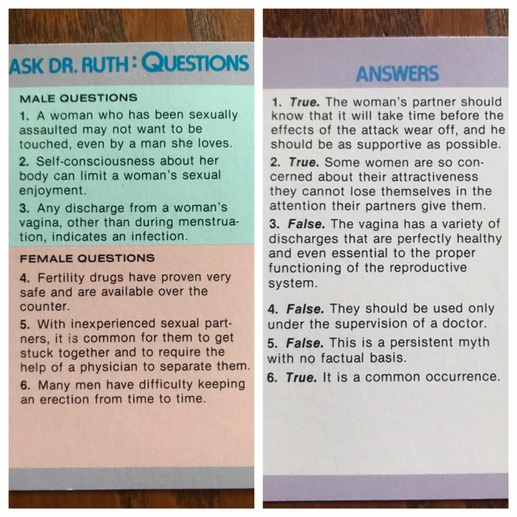 Example true/false card that asks if discharge from a woman's vagina outside of menstruation indicates infection