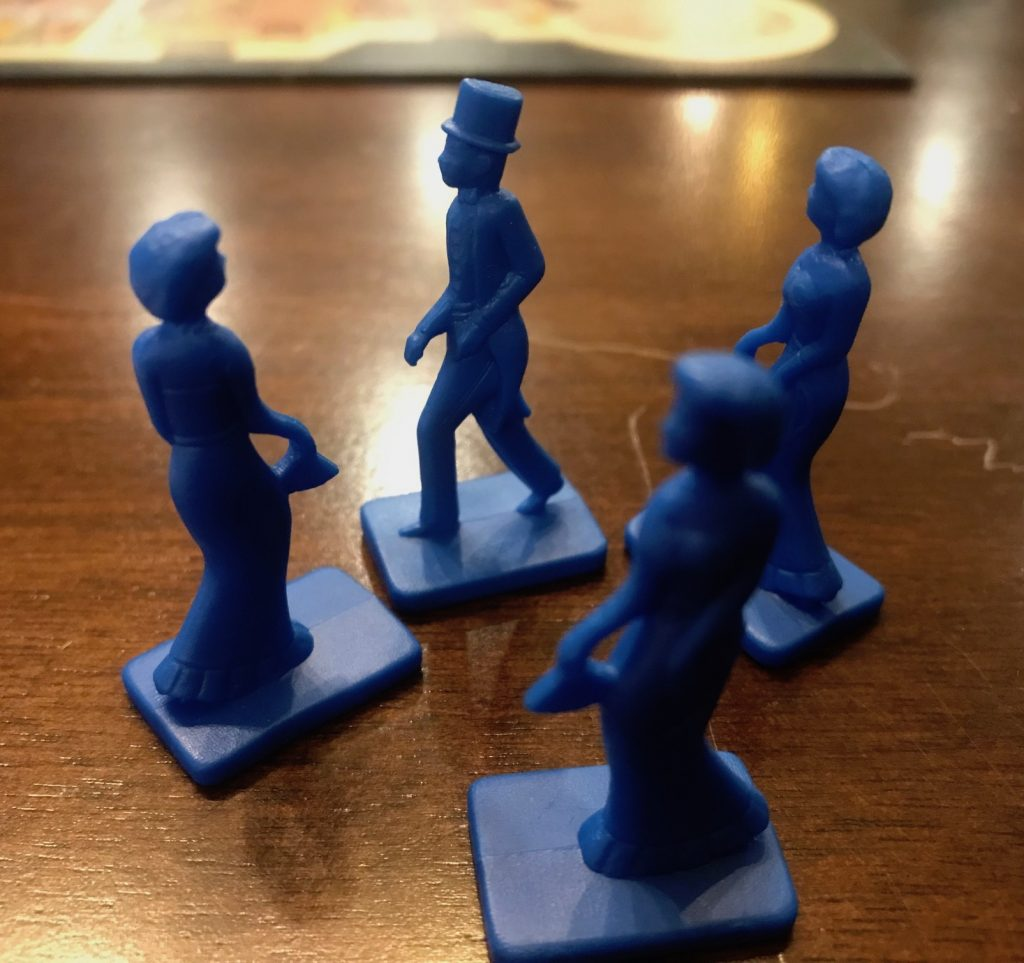 Blue pawns that show small fancy mini characters