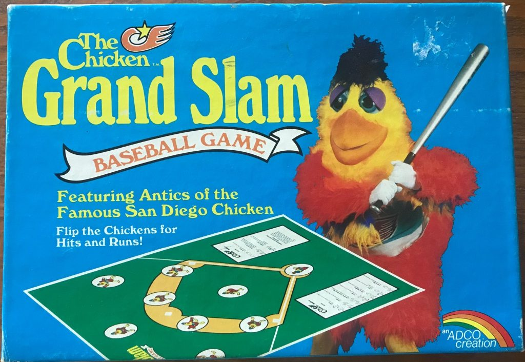 The cover shows the playing field with the chicken mascot holding a bat
