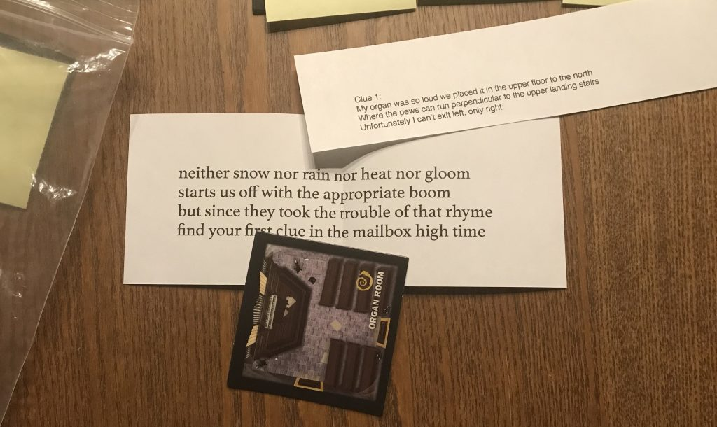 Just a photo of the items in Clue 1, described below