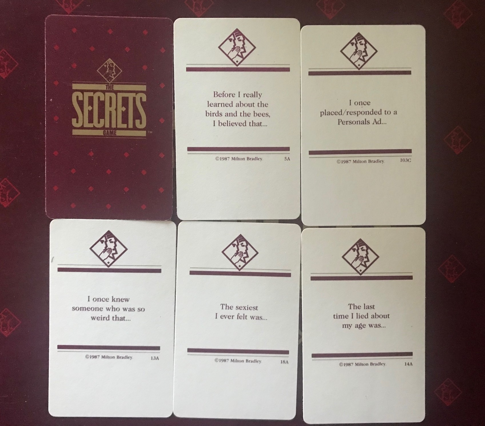 """Some of the cards including things like """"The last time I lied about my age was..."""""""