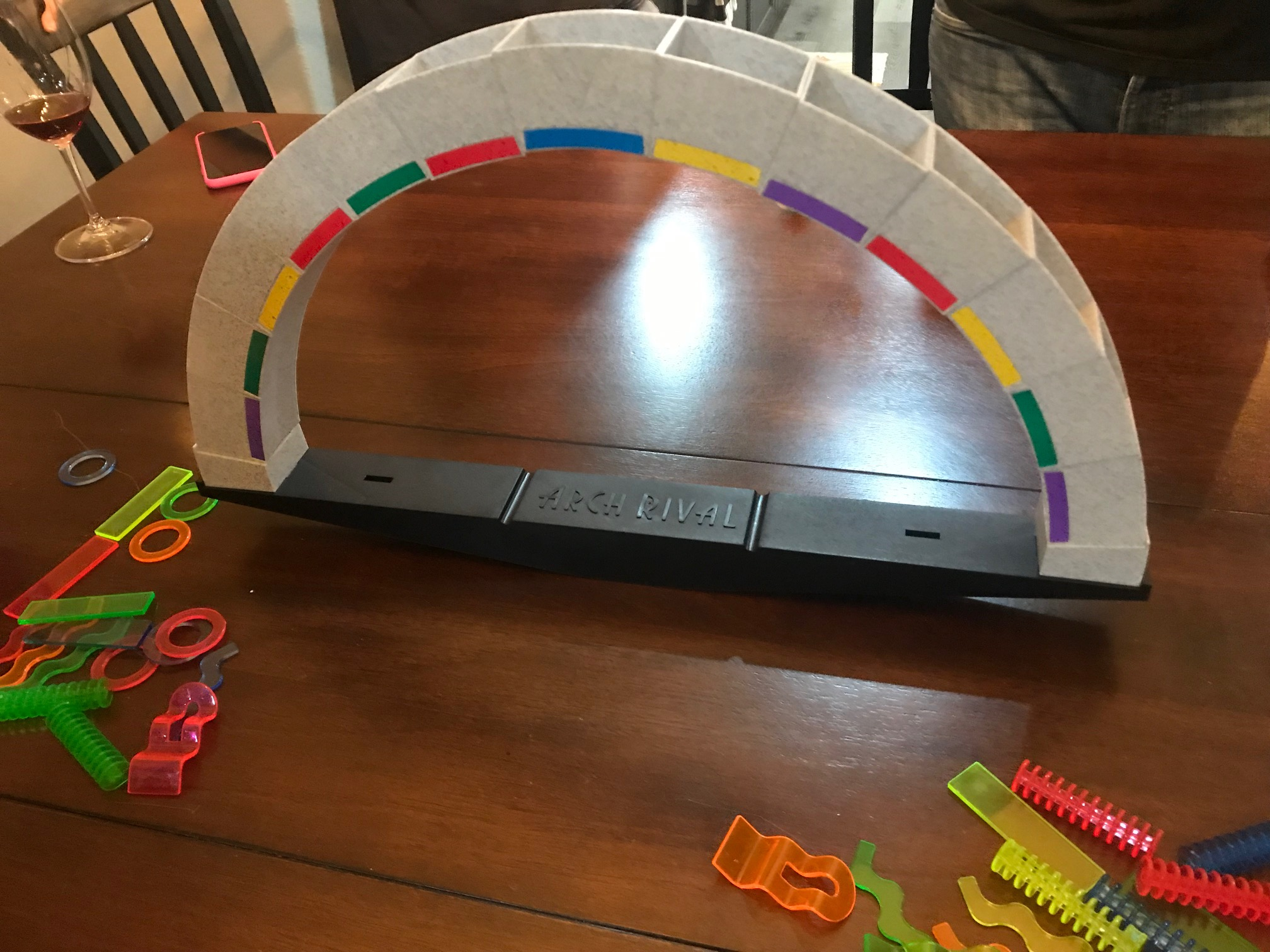 Ready for play is the arch with empty compartments