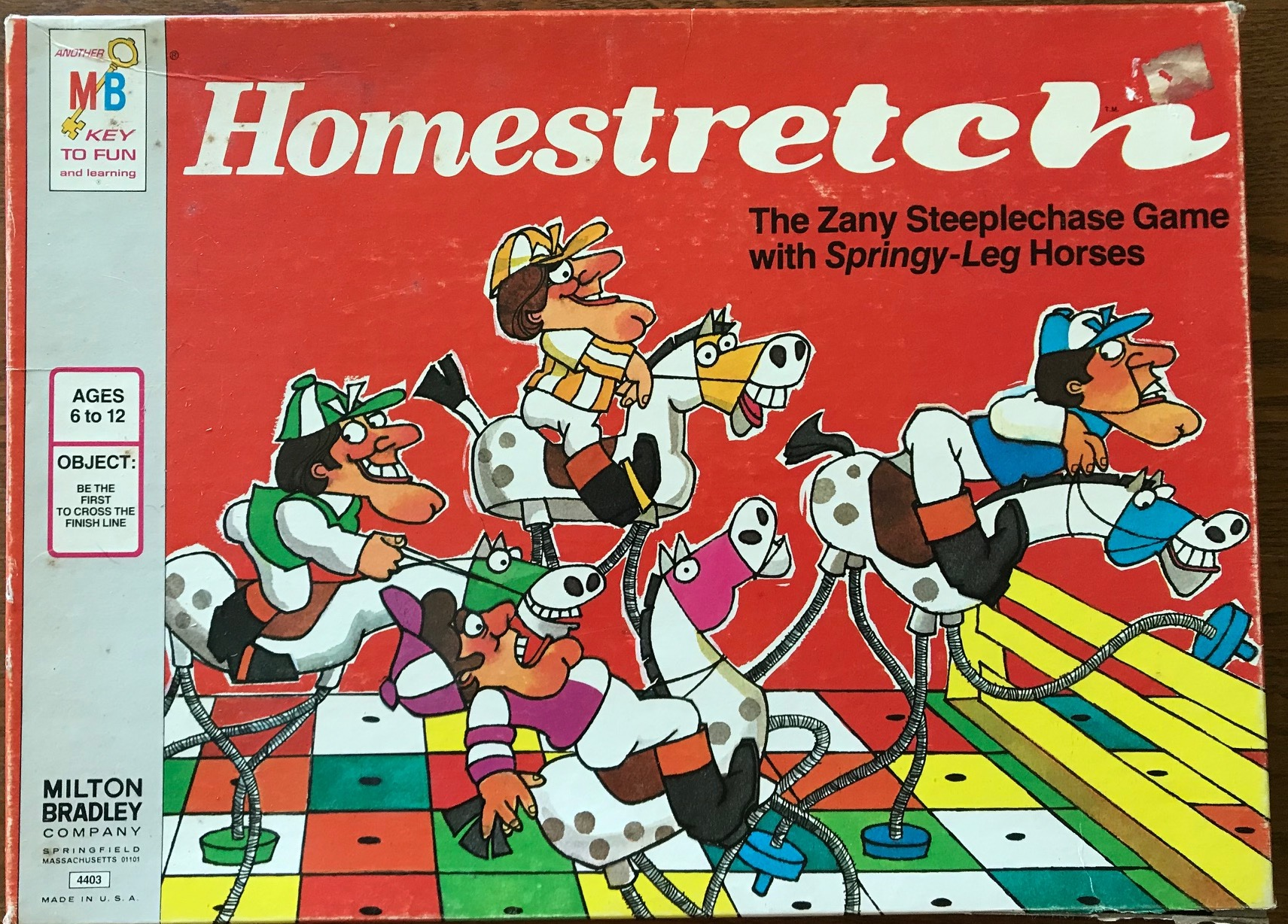 This cover shows ridiculous cartoon racehorses and jockeys tipped every which way as though the legs are made of springs