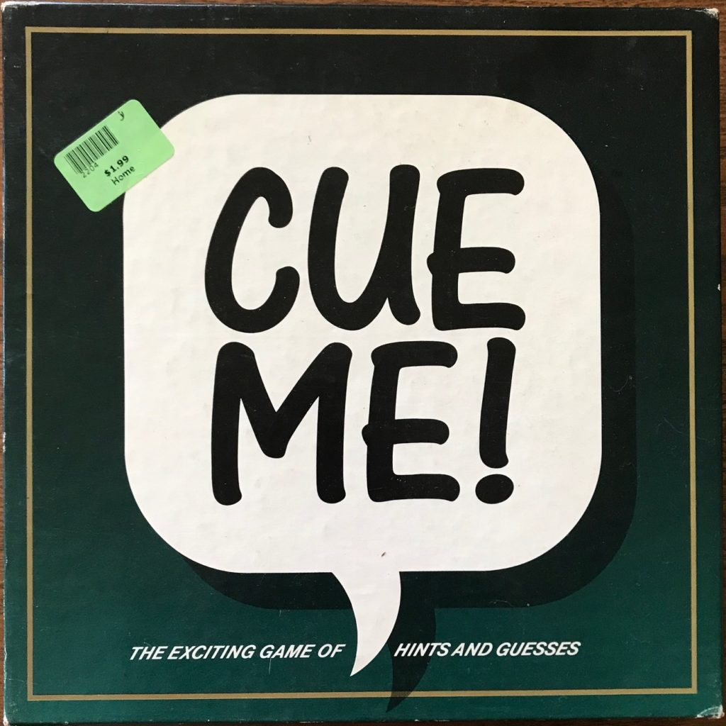 The cover of cue me is just a talk bubble with CUE ME! written in it