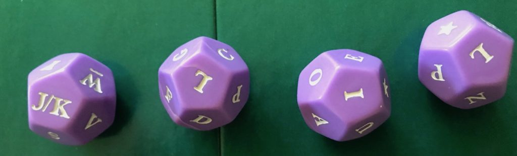 Another example dice roll showing letters J/K, L, I and L