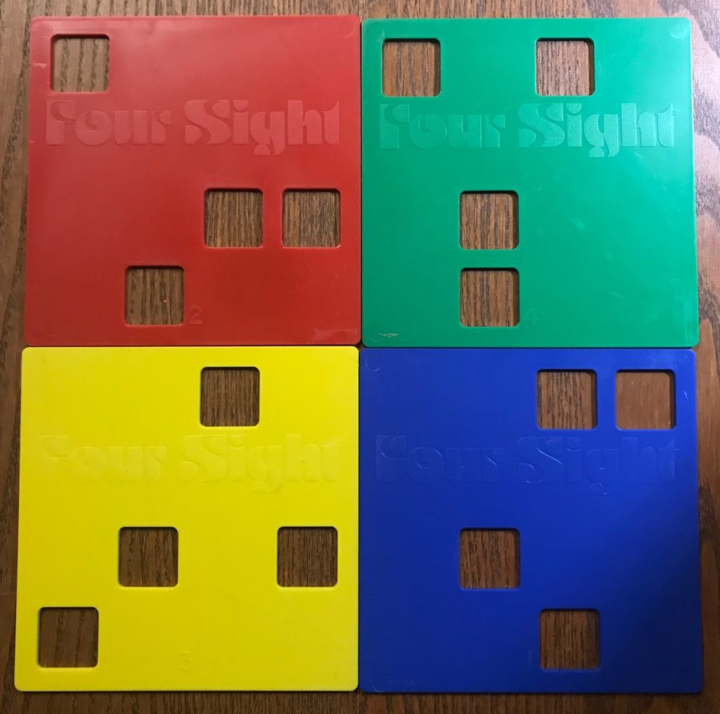 There are four key plates with four holes in them in different places representing different patterns