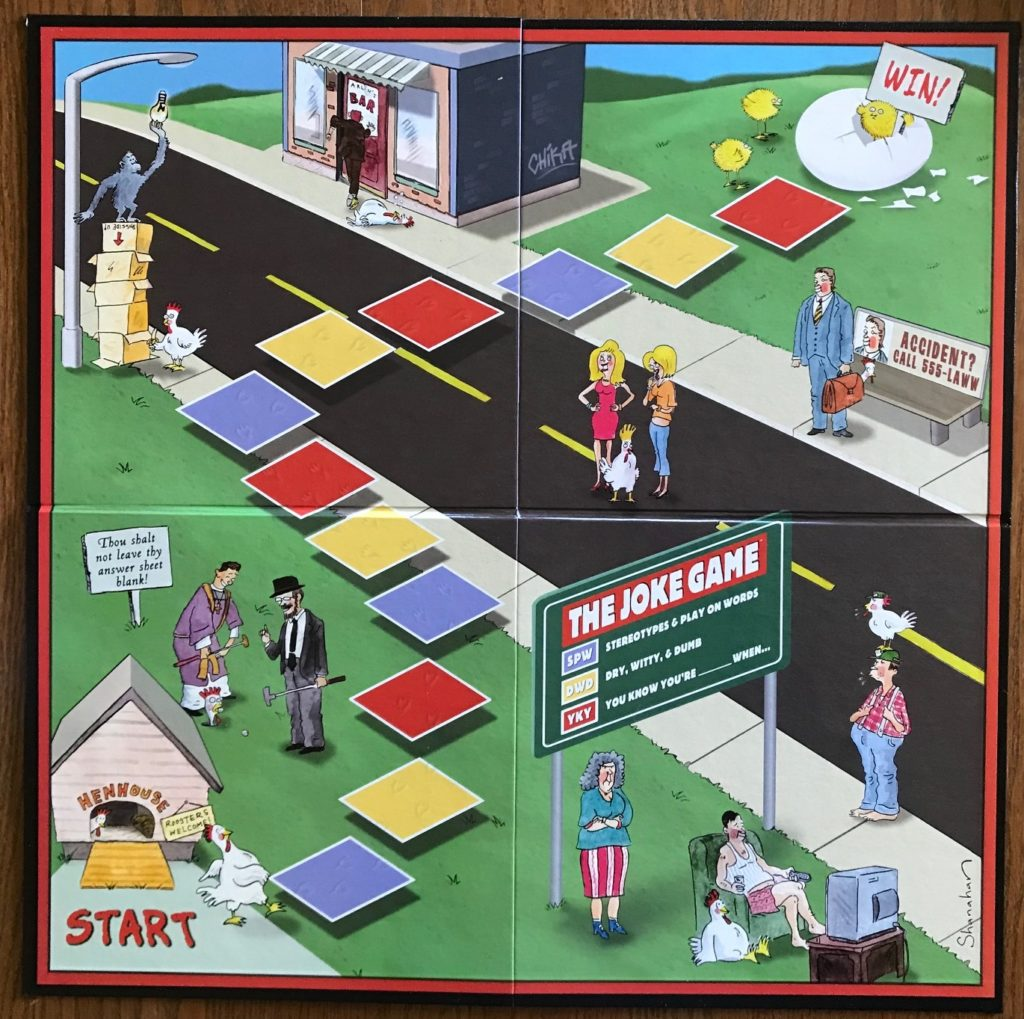 The game board showing cartoon characters and a short path to the end