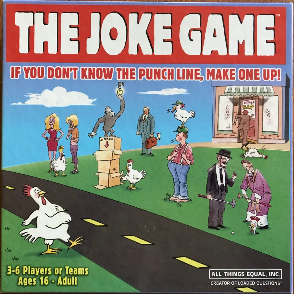 Cover photo shows a cartoon chicken crossing a cartoon road with exaggerated cartoon people in the background
