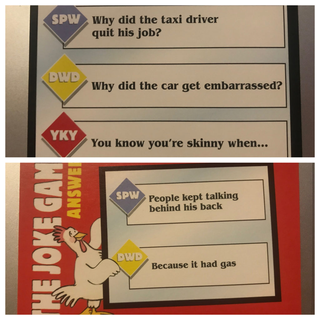 The example card includes the joke Why did the taxi driver quit his job? People kept talking behind his back