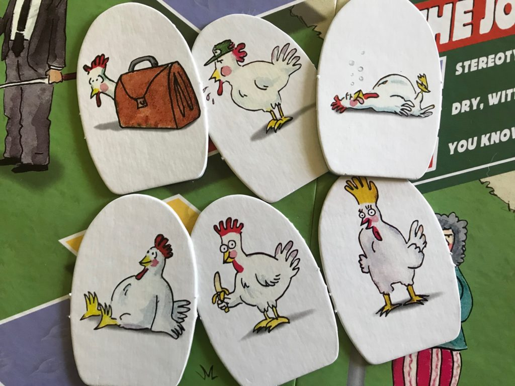 Chicken pawns are cardboard standees of chickens in various states like eating a banana, sitting, laying down drunk, blowing a whistle?