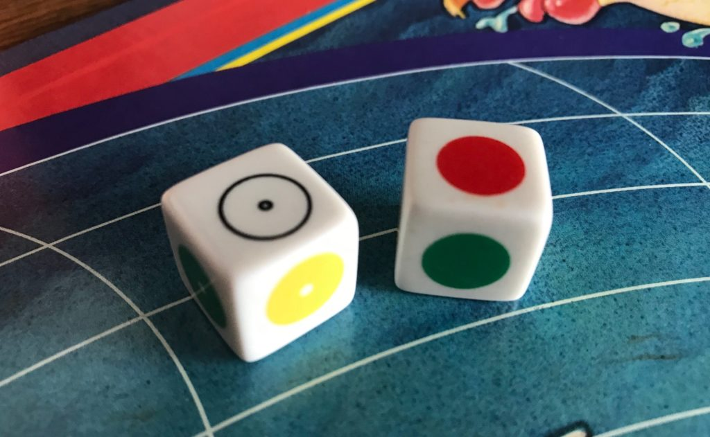 The dice with colored circles on each face