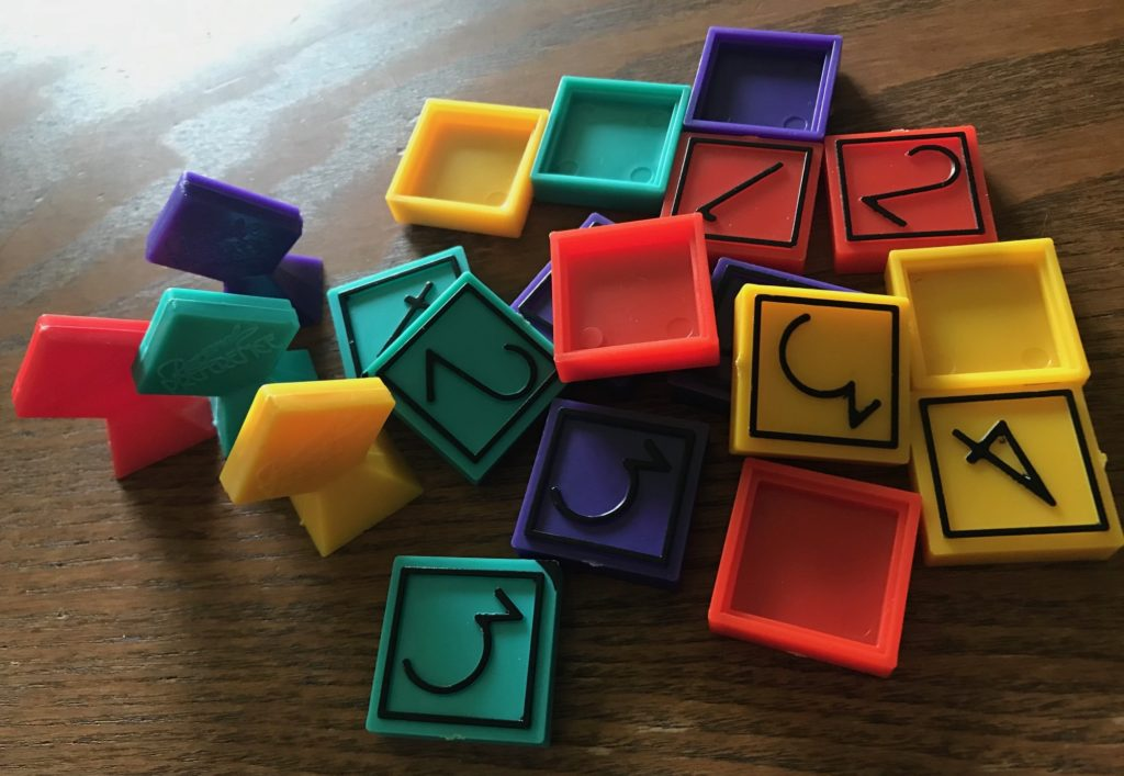 The colorful pawns and ranking chips