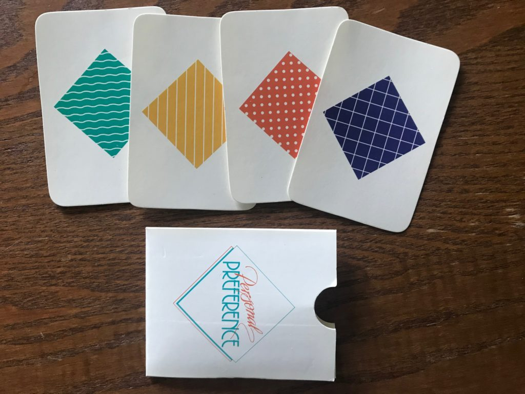 Four cards showing color and pattern of each quadrant for secret ranking